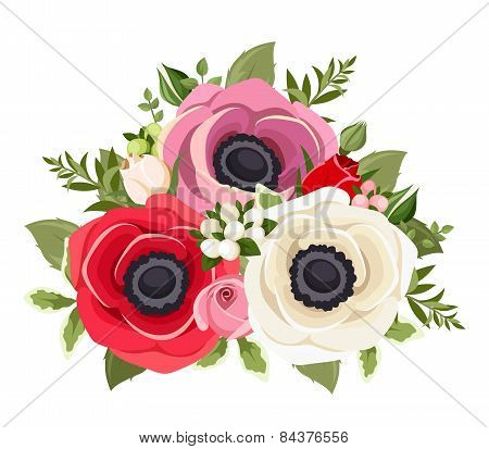 Bouquet of colorful anemone flowers. Vector illustration.