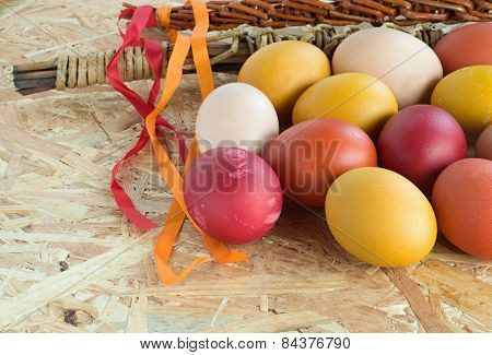 Easter Colorful Eggs And Withe