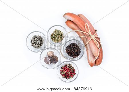 Three German Sausage And Spice That Were Used To Prepare Them