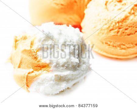 Vanilla And  Orange Fruit  Ice Cream Balls Macro. Beautiful Scoops Of  Ice-cream  Close Up.