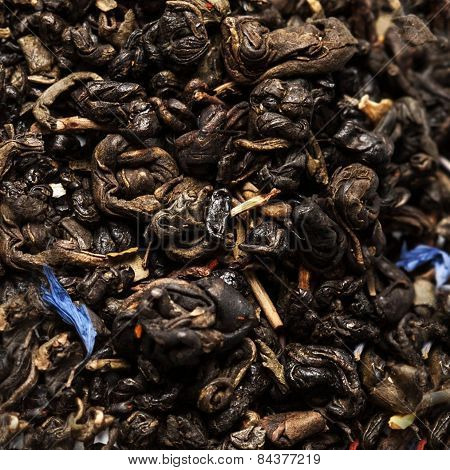 Dried Tea Leaves May Use As A  Background Close Up. Black Tea. Green Tea
