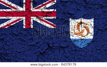 Flag Of Anguilla With Old Texture. Vector