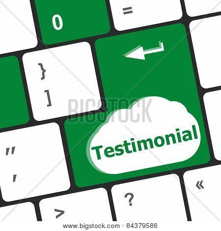 Testimonial Button On Keyboard Key