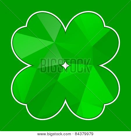 Green Polygon Cloverleaf With White Contour