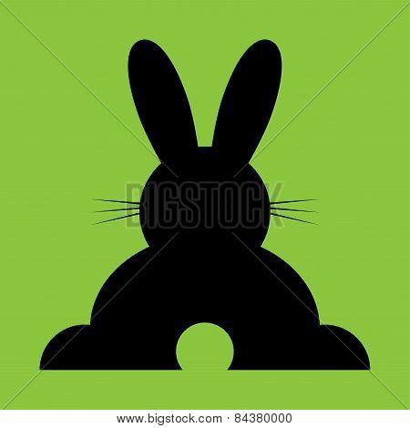 Sitting Black Back Easter Bunny