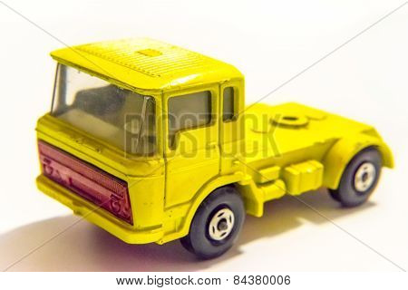 Yellow Truck Toy Isolated On White Background