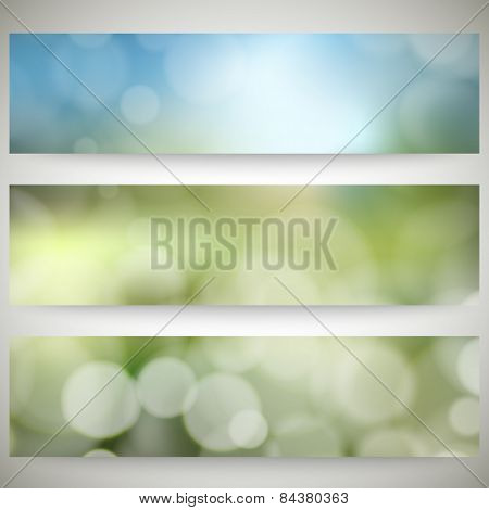Blurry backgrounds set with bokeh effect. Abstract banners set, template vector