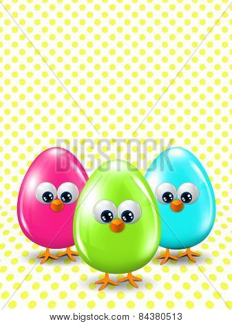 Colored Easter Eggs Standing On Dotted Background