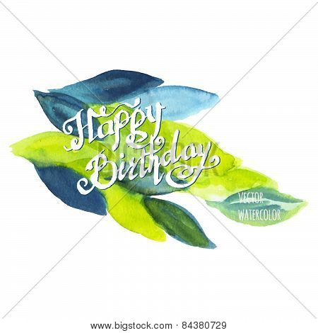 Happy Birthday Watercolor Doodle Lettering