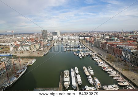 Aerial View On The Yacht Harbor At The Bonaparte Docks In Antwerp, Belgium