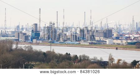 View On An Oil Refinery In The Port Of Antwerp, Belgium