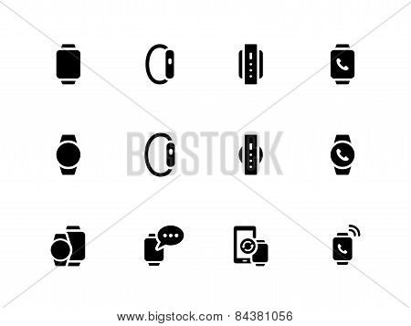 Smart watch icons on white background.