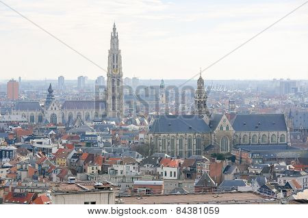 Famous Cathedral Of Our Lady And Church Of Saint Paul In Antwerp, Belgium