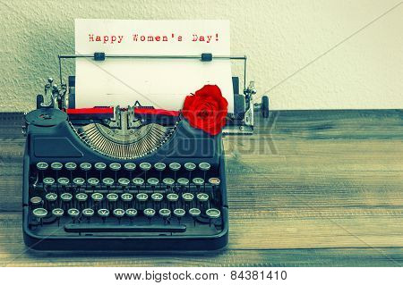 Vintage Typewriter With Red Rose Flower. Happy Womens Day