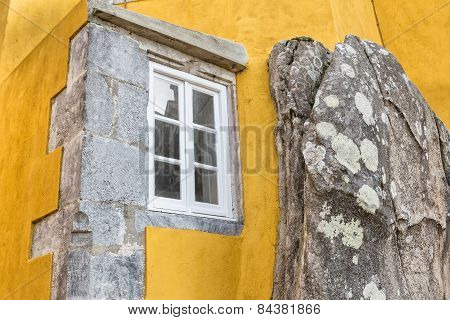 Window Built Into The Stone Mountain. The Castle Pena Sintra Portugal.