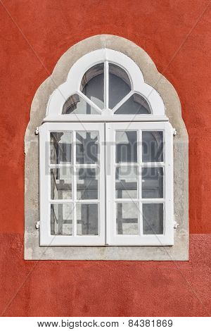 Vintage Old Window Historic Times. Original Architectural Details.