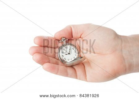 Pocket Watch In A Man's Hand. Time Is Running.