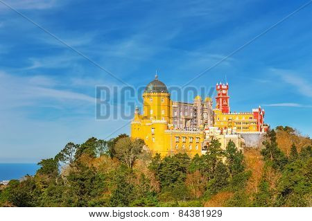 Panorama Pena Palace. Against The Background Of The Ocean. Sintra Portugal.
