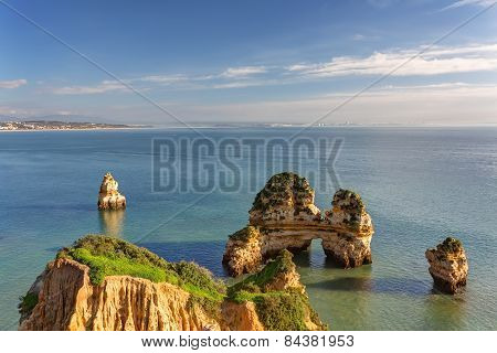 Wonderful Views Of The Sea Coast Of Lagos. Algarve.
