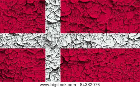 Flag Of Denmark With Old Texture. Vector