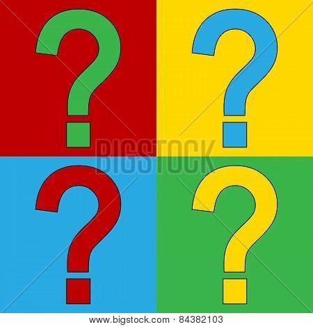 Pop Art Question Symbol Icons.