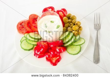 Dip and vegetables