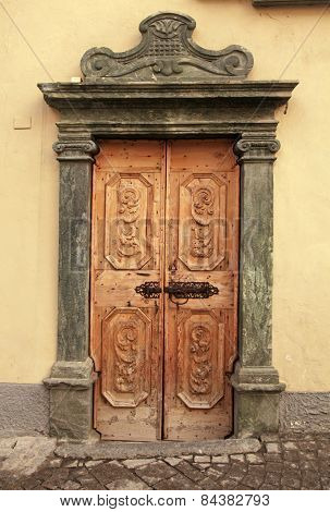 Vintage Brown Wood Medieval Door, Italy
