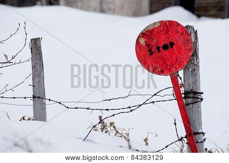 Homemade red stop sign