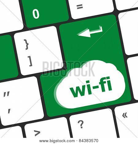 Wi-fi Button On Computer Keyboard