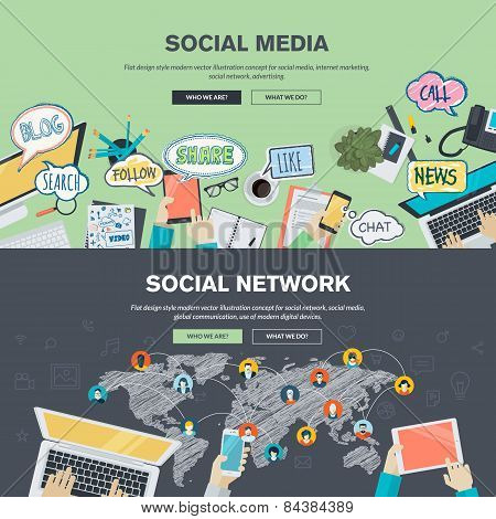 Set of flat design illustration concepts for social media and social network