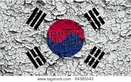 Flag Of South Korea With Old Texture. Vector