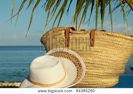 Wicker Bag And Hat Under Palm Frond