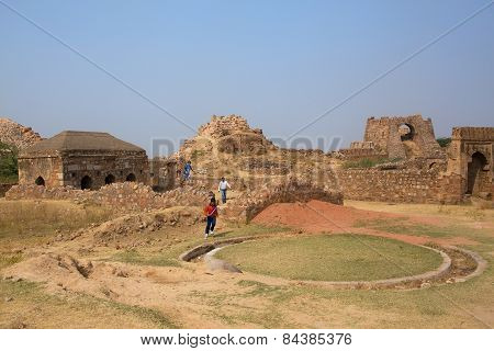 Delhi, India - November 4: Unidentified Boys Run At Tughlaqabad Fort On November 4, 2014 In Delhi, I