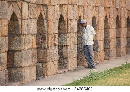 Delhi, India - November 4: Unidentified Man Stands At Mausoleum At Tughlaqabad Fort On November 4, 2