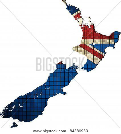 New Zealand map with flag inside