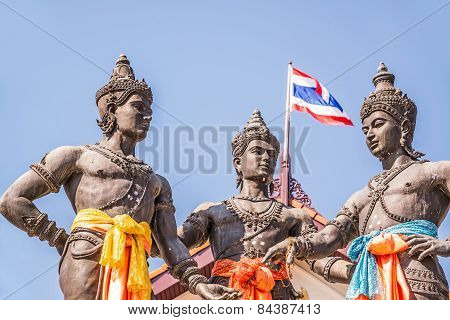 The Three Kings Monument,chiang Mai, Thailand.