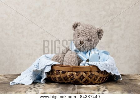 Toy Bear In A Basket