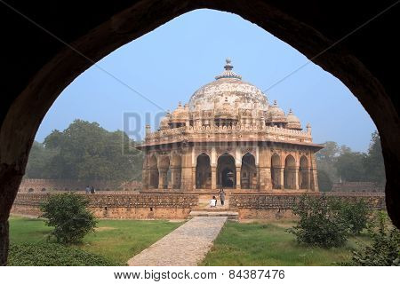 Delhi, India - November 4: Unidentified People Stand Near Isa Khan Tomb At Humayun's Tomb Complex On