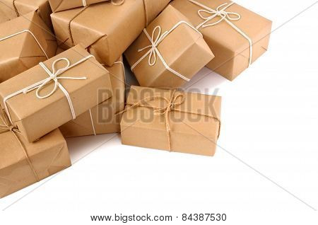 Untidy Pile Of Brown Parcels