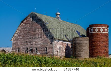 Weathered Barn, Silos, Cornfield