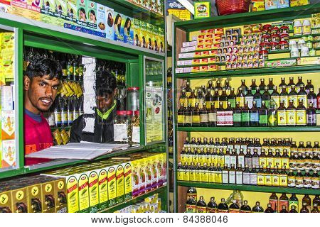 Pharmacists Sells Medicine In His Shop