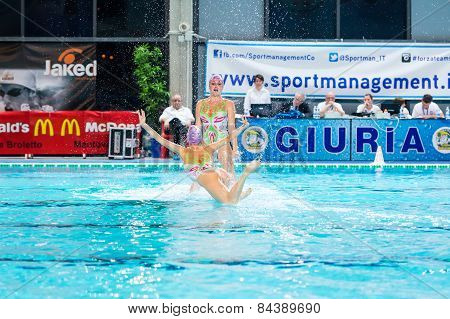 Mantova - February 19:    Bpm Sport Management   Synchronized Swimming Team Performing In Italian Me