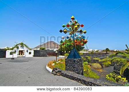 Entrance And Sculpure Of An Artist, Lanzarote,spain