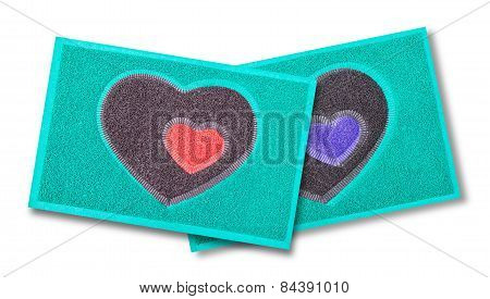 Heart Door Mat On White Background.