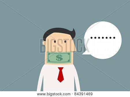 Silent businessman gagged with money