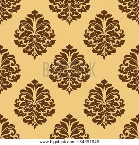 Light and dark brown seamless damask pattern