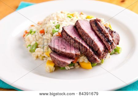 Vegetable Risotto With Rare Beef Tenderloin