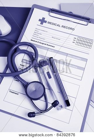 Blue Tone Of Medical Record.