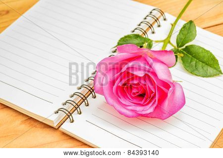 Pink Rose And Diary,valentines Day