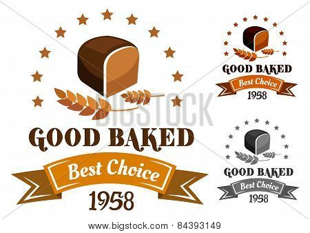 Rye bread banner or label